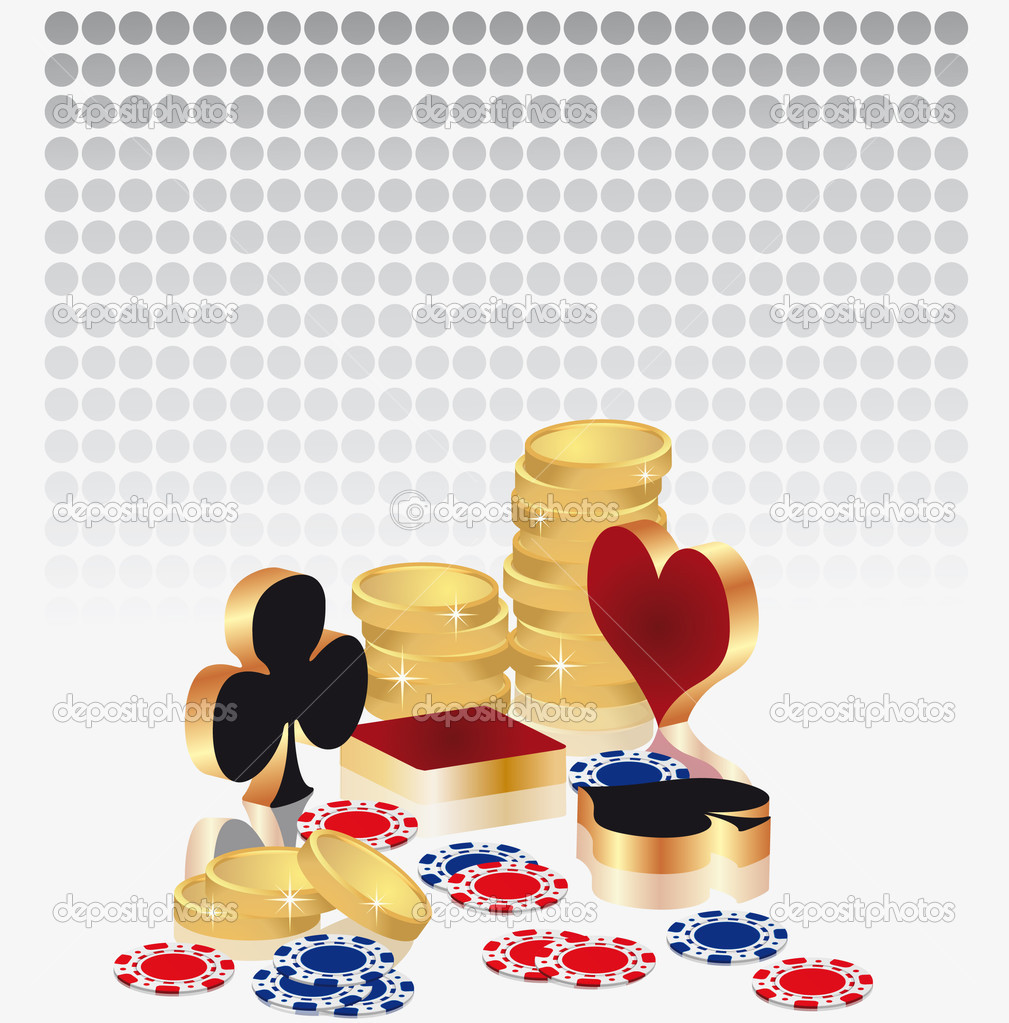 Casino card with poker symbols and gold coins, vector — Stock Vector #3016038