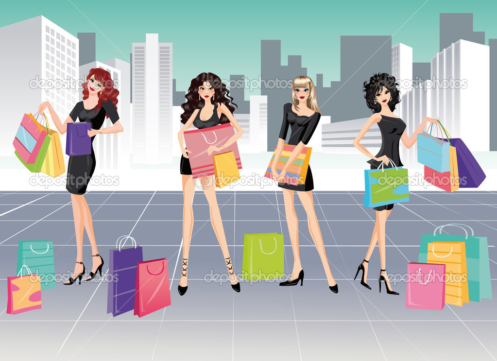 Girls and Shopping. vector — Stock Vector #3019549