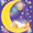 The baby sleeps on the moon. vector — Stock Vector