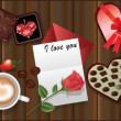 Love card with a rose and coffee. vector — Stok Vektör