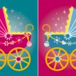 Vector illustration of a pram for baby — Stock Vector
