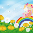 Spring card, girl and dandelions. vector - 