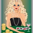 Blonde girl plays poker. vector — Stock Vector