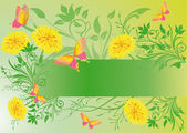 Spring banner with butterflies and dande — Stock Vector