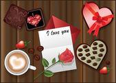 αγάπη κάρτα με ένα τριαντάφυλλο και καφέ. διάνυσμα — Διανυσματικό Αρχείο