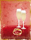 свадебный пригласительный билет, вектор — Cтоковый вектор