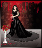 Girl vampire with a blood glass, vector — Stock Vector
