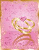 Hochzeit liebeskarte mit ringe, vektor — Stockvektor