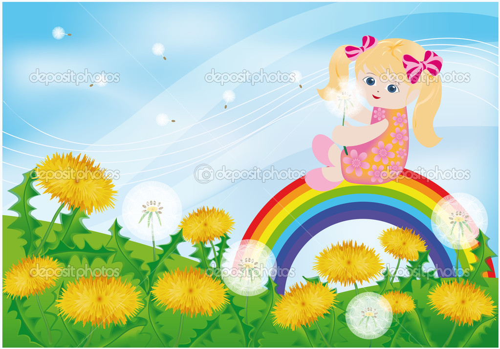 Spring card, the girl and dandelions. vector.  Stock Vector #3022605