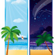 Summer banner with sea, vector — Stock Vector