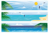 Summer banner with palm trees. vector — Vecteur