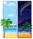 Sommaren banner med havet, vektor — Stockvektor