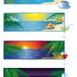 Summer banner- Morning day evening night — Stock Vector