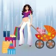 Pregnant girl and shopping in a city. — Stock Vector