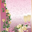 Wedding card with champagne, vector — Stock Vector