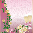 Stock Vector: Wedding card with champagne, vector