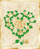 Wedding card with golden hearts, vector — Stock Vector