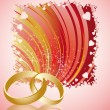 Stock Vector: Wedding card with golden rings, vector