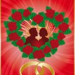 Love card with lovers and wedding rings, — Imagen vectorial
