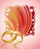 Wedding card with golden rings, vector — Stock Vector
