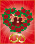 Love card with lovers and wedding rings, — Stock Vector