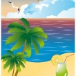 Beach card, vector — Stockvektor
