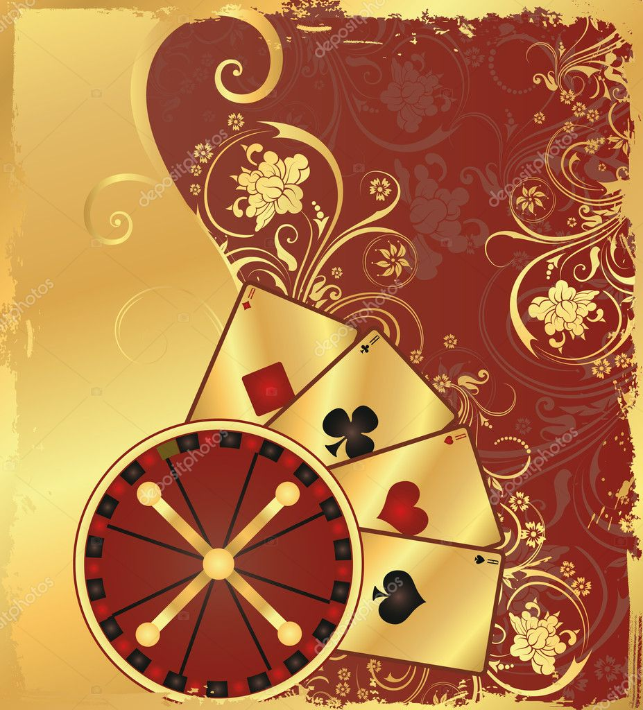 Casino  background with roulette and poker cards, vector — Stock Vector #3150628