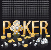 Diamante oro poker, vector — Vector de stock