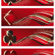Set casino banners with poker elements, — Stock Vector