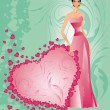 Wedding card with bride, vector - Imagen vectorial