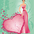 Wedding card with bride, vector -  