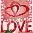 Wedding love card, with hearts,  vector — Imagen vectorial