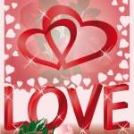 Wedding love card, with hearts, vector — Stock Vector