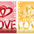 Two wedding cards with 3D image of hearts, vector — Stock Vector