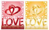 两个婚礼卡与人的心,3d 图像矢量 — 图库矢量图片