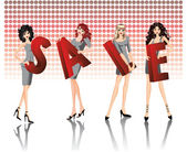 Four girls keep red letters of a word SALE. vector — Stock Vector