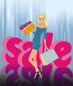 Blonde girl in shopping and SALE in 3D image. vector — Stock Vector