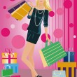 Shopping fashion girl with bags , vector — Stock Vector