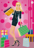 Shopping fashion girl with bags , vector — Stok Vektör