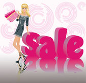 Shopping sale girl, vector — Stock Vector