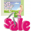 Sale seasons - spring, vector — Stock Vector
