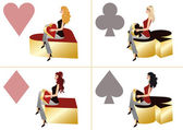 Girls and Poker elements 3d. vector — Stock Vector