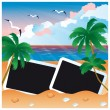 Travel card with two photo frame, vector — Stock Vector