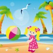 Girl playing ball on the beach. vector - Stock Vector