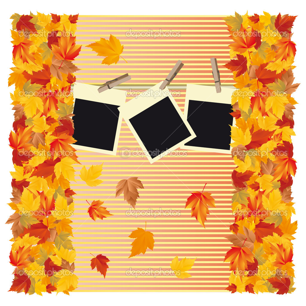 Autumn background with frame photo, vector — Stock Vector #3503222
