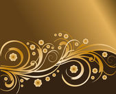 Gold Flower Design Background, vector — Stok Vektör