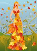 Autumn women, vector illustration — Stock Vector