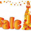 Vector de stock : Autumn sale and shopping girl, vector