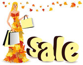 Autumn shopping girl and sale in 3D , vector — Stock Vector