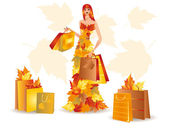 Autumn shopping girl, vector — Stock Vector
